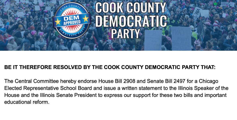 Cook County Democratic Party Endorses Elected School Board Bills